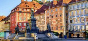Blick auf Rechtsgebäude in Graz