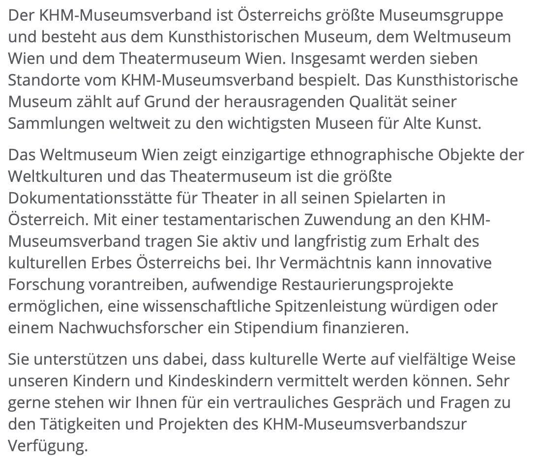 Kunsthistorisches Museum Testament Spenden Vorstellung