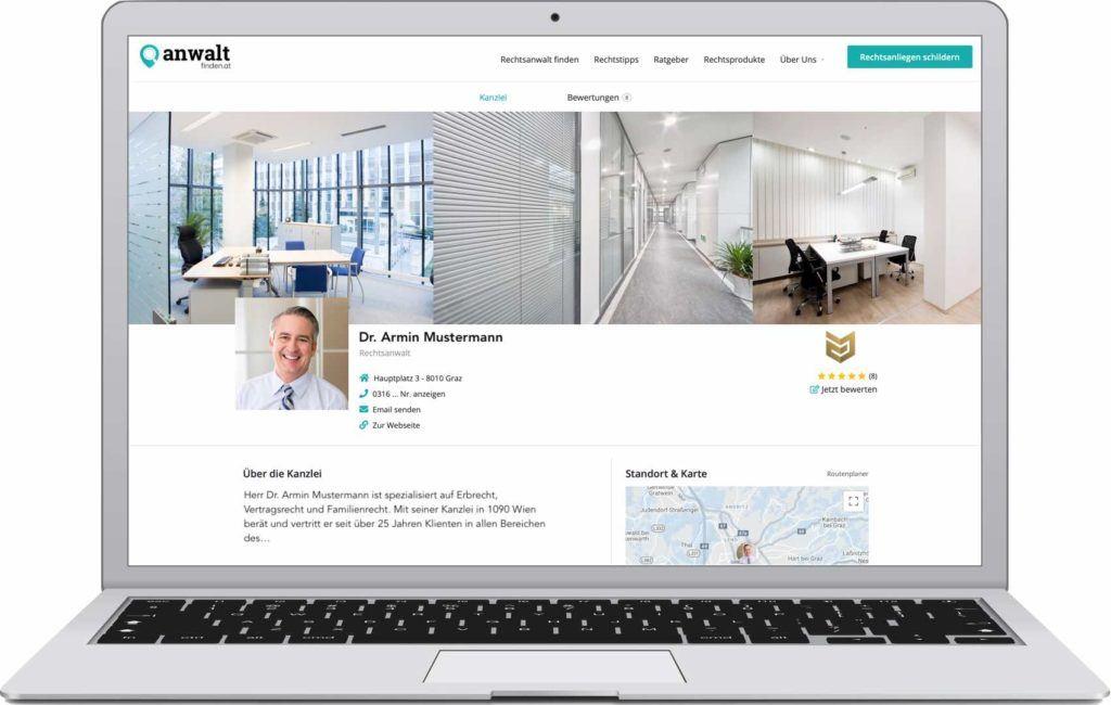 Anwaltfinden.at Profildesign