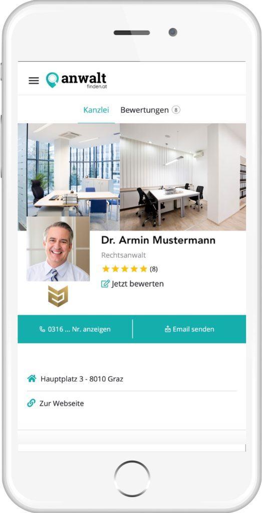 anwaltfinden.at Profildesign mobil