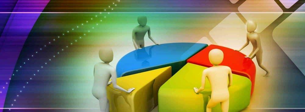 Kreisscheibe wird an Figuren aufgeteilt