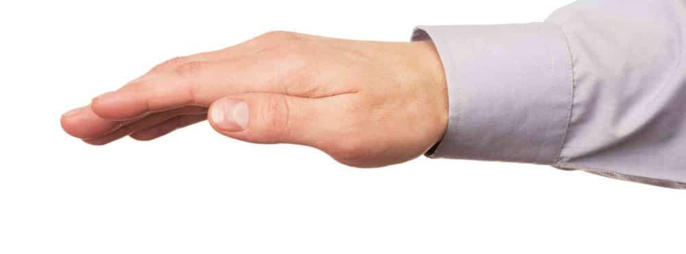 Eine Hand Haftet für etwas