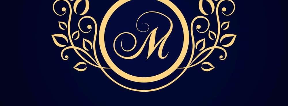 Goldenes Logo auf schwarzem Hintergrund