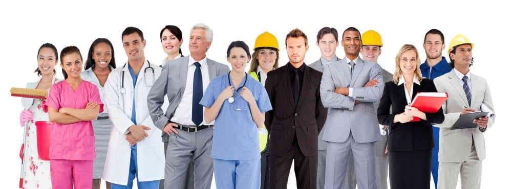 Viele Berufsgruppen am Bild